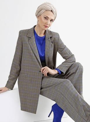 Beige - Saxe - Plaid - Unlined - Suit