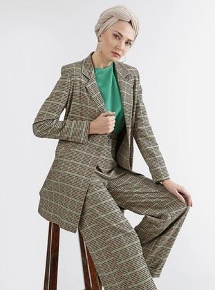 Green - Beige - Plaid - Unlined - Suit