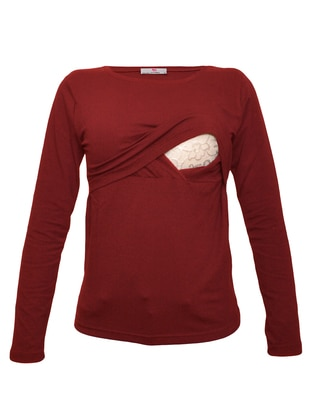 Maroon - Cotton - Crew neck - Maternity Blouses Shirts