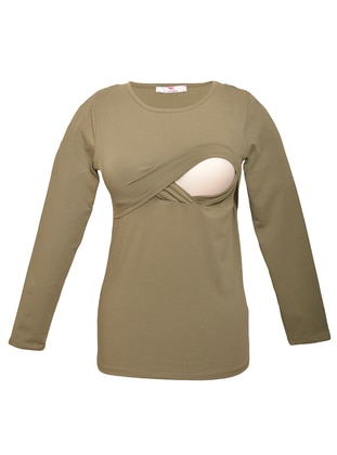 Khaki - Cotton - Crew neck - Maternity Blouses Shirts