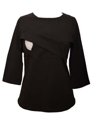 Black - Cotton - Crew neck - Maternity Blouses Shirts - Luvmabelly