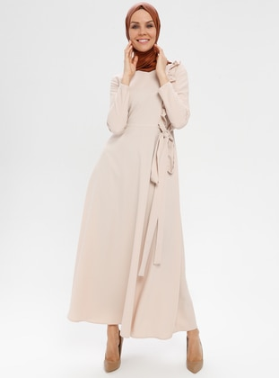Beige - Crew neck - Unlined - Dress