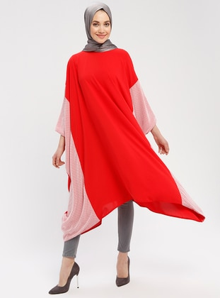 Red - Ecru - Crew neck - Tunic