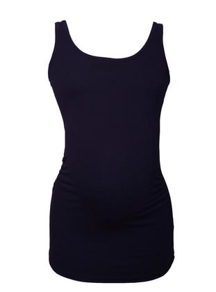 Navy Blue - Cotton - Crew neck - Maternity Blouses Shirts