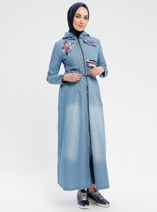 Blue - Indigo - Unlined - Crew neck - Cotton - Denim - Topcoat