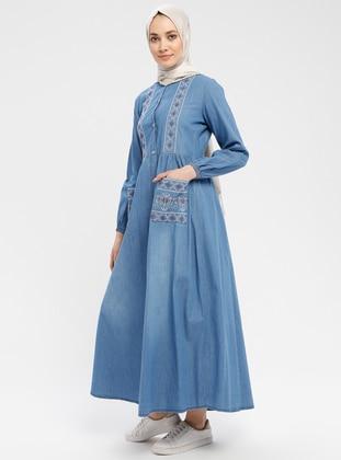 Blue - Unlined - Crew neck - Crew neck - Cotton - Denim - Topcoat