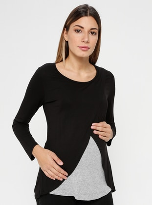 Black - Gray - Crew neck - Maternity Blouses Shirts
