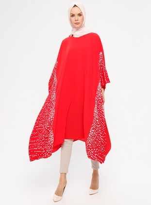 Red - Polka Dot - Crew neck - Tunic