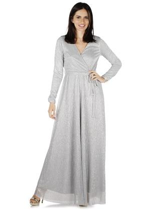 Gray - Fully Lined - V neck Collar - Muslim Evening Dress