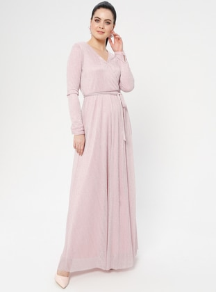 Pink - Fully Lined - V neck Collar - Muslim Evening Dress