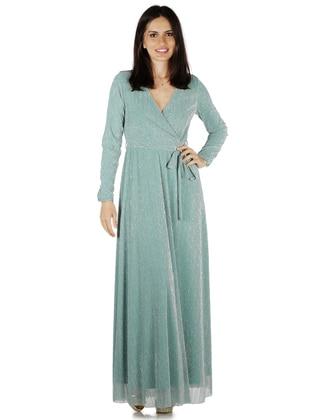 Green - Fully Lined - V neck Collar - Muslim Evening Dress