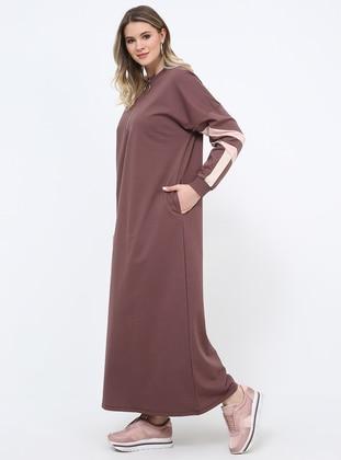 Purple - Unlined - Crew neck - Cotton - Plus Size Dress