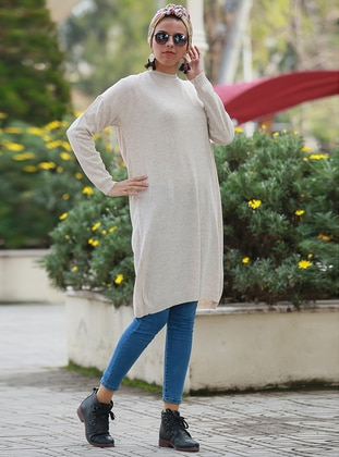Gray - Crew neck -  - Tunic - Por La Cara