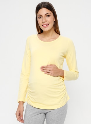 Yellow - Crew neck - Maternity Blouses Shirts