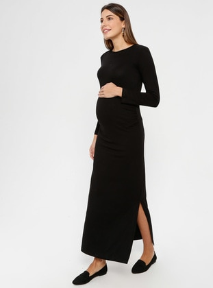 Black - Crew neck - Unlined - Maternity Dress - Luvmabelly