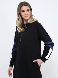 Navy Blue - Unlined - Crew neck - Cotton - Plus Size Dress
