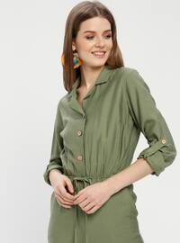 Khaki - Unlined - Point Collar - Jumpsuit