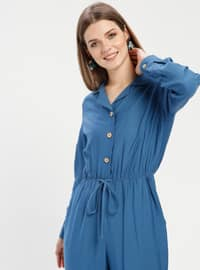 Blue - Indigo - Unlined - Point Collar - Jumpsuit