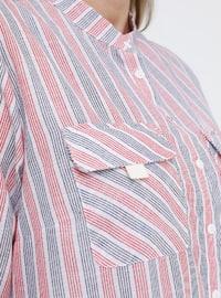 Red - Gray - Stripe - Button Collar - Cotton - Plus Size Tunic