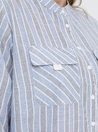 Blue - Stripe - Button Collar - Cotton - Plus Size Tunic