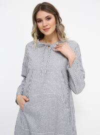 Anthracite - Stripe - Crew neck - Cotton - Plus Size Tunic