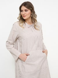 Beige - Stripe - Crew neck - Cotton - Plus Size Tunic