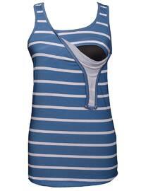 Indigo - Cotton - Stripe - Crew neck - Maternity Blouses Shirts