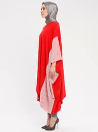 Red - Ecru - Crew neck - Tunic
