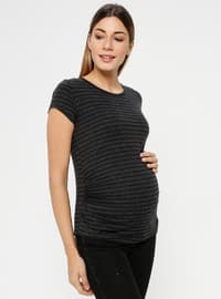 Gray - Crew neck - Maternity Blouses Shirts