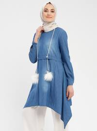 Blue - Crew neck - Cotton - Denim - Tunic