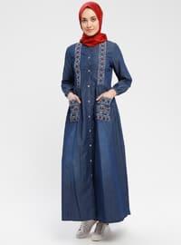 Blue - Unlined - Crew neck - Cotton - Denim - Topcoat