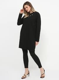 Black - Crew neck - Cotton - Plus Size Tunic