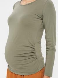 Khaki - Crew neck - Maternity Blouses Shirts
