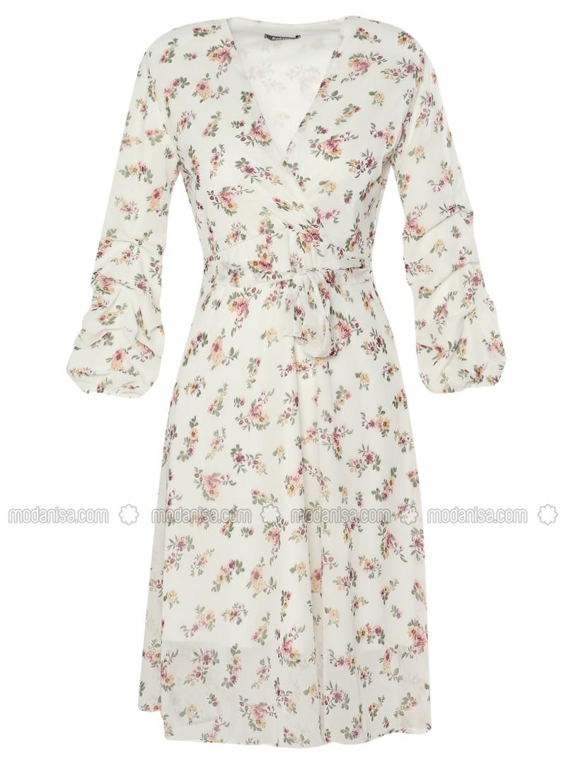 411a9d5eec166 Çiçek Desenli Şifon Elbise - Ekru
