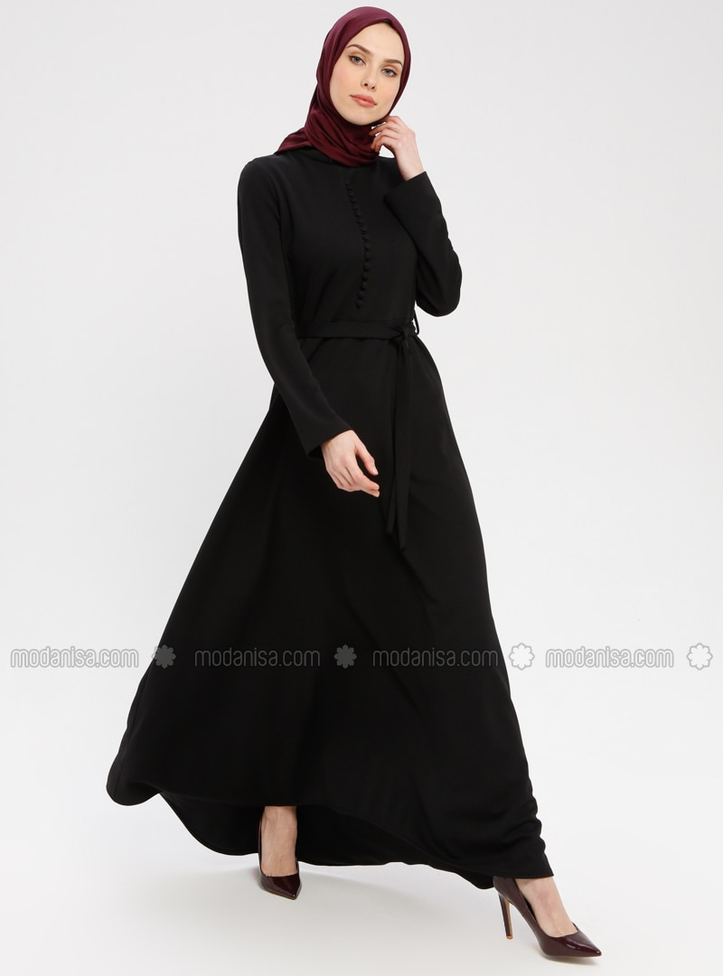 Black - Crew neck - Unlined - Dress - ZENANE