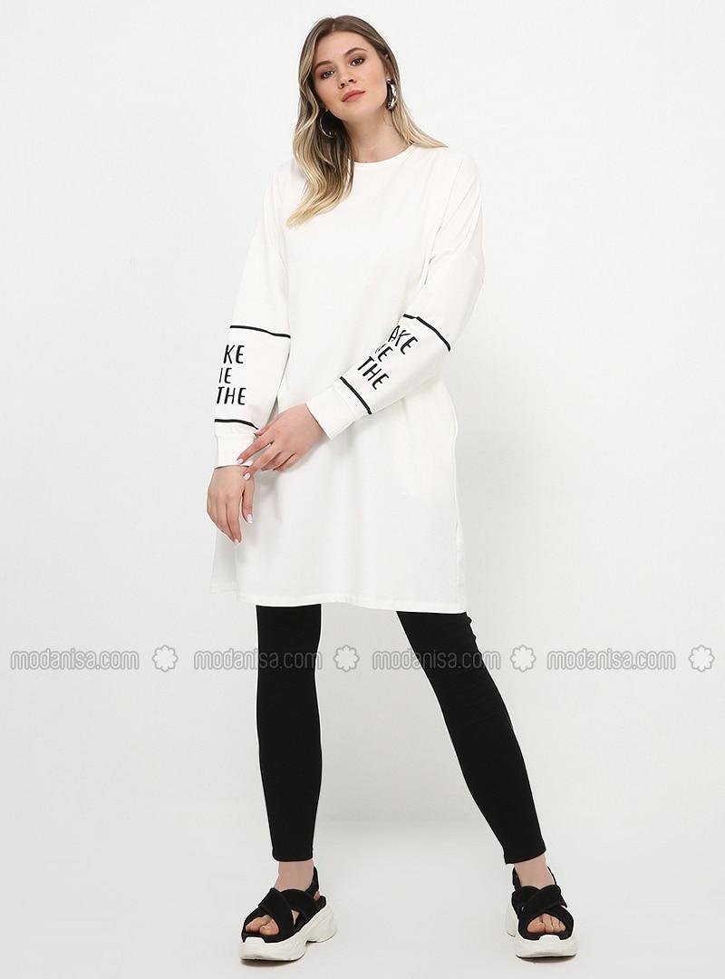White - Ecru - Crew neck - Cotton - Plus Size Tunic