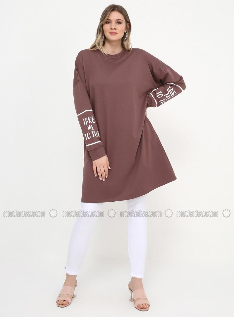 Purple - Dusty Rose - Crew neck - Cotton - Plus Size Tunic