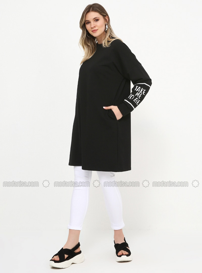 Black - Crew neck - Cotton - Plus Size Tunic