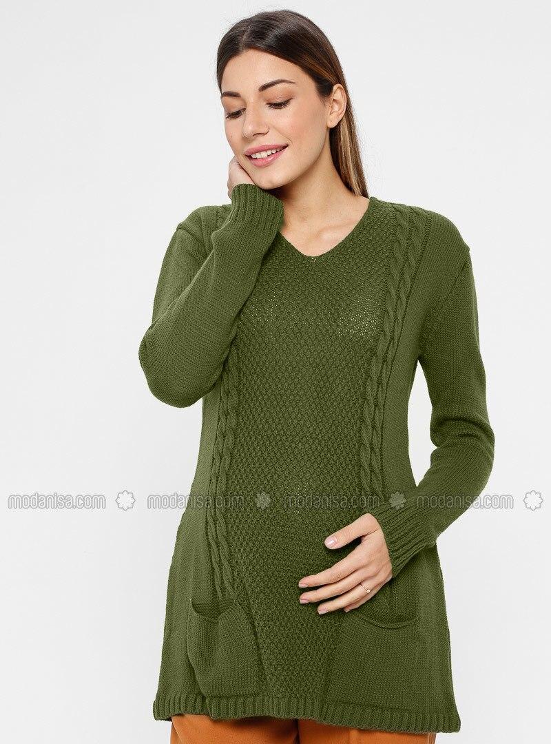 Khaki - V neck Collar - Acrylic -  - Maternity Tunic