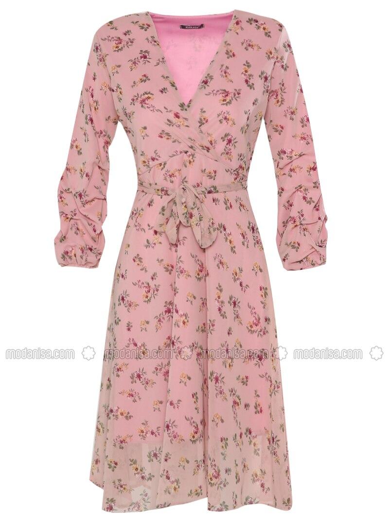 40afe8e203705 Çiçek Desenli Şifon Elbise - Pudra