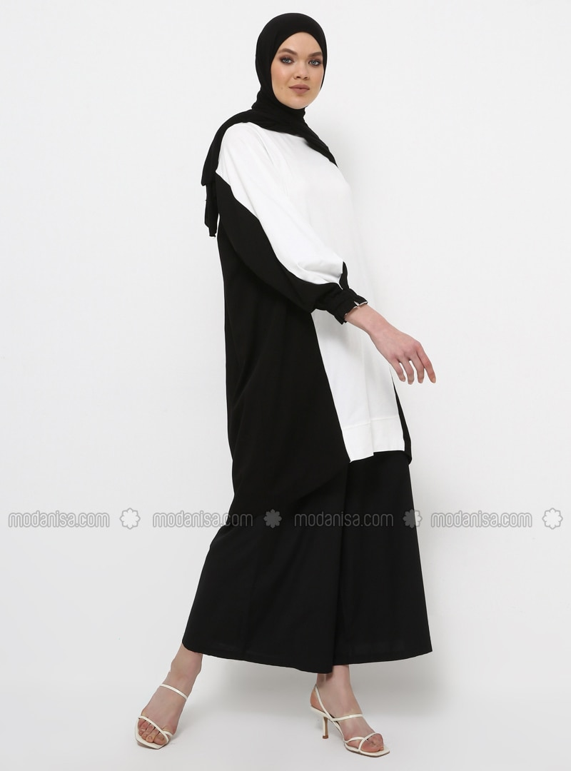 Black - Ecru - Crew neck - Cotton - Tunic