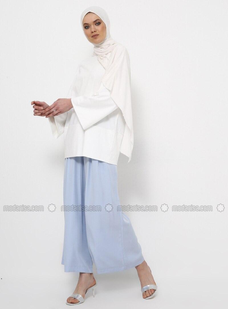 Ecru - Crew neck - Cotton - Tunic
