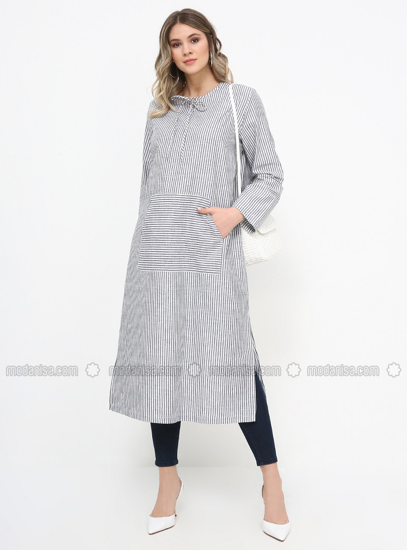 Anthracite - Stripe - Crew neck - Cotton - Plus Size Tunic