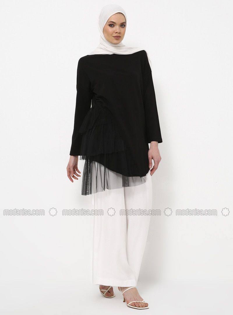 Black - Crew neck - Cotton - Tunic