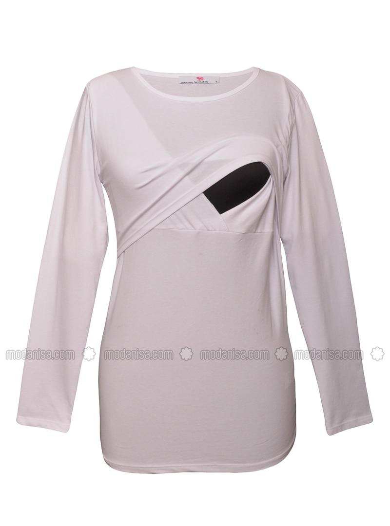 White - Cotton - Crew neck - Maternity Blouses Shirts