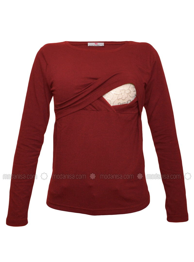 Maroon - Cotton - Crew neck - Maternity Blouses Shirts