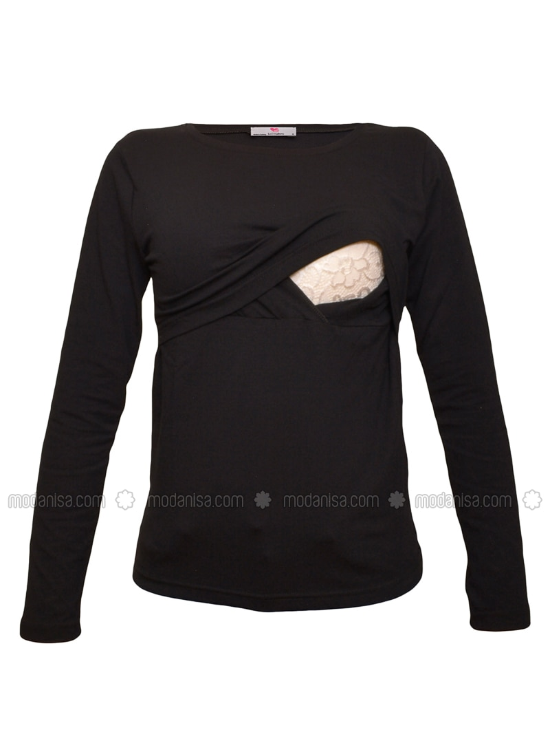 Black - Cotton - Crew neck - Maternity Blouses Shirts