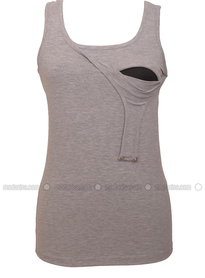Gray - Cotton - Crew neck - Maternity Blouses Shirts