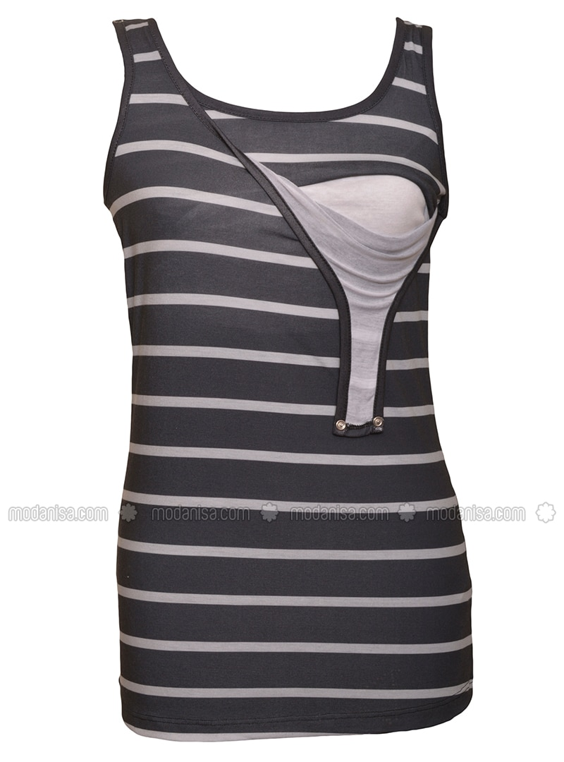 Black - Cotton - Stripe - Crew neck - Maternity Blouses Shirts