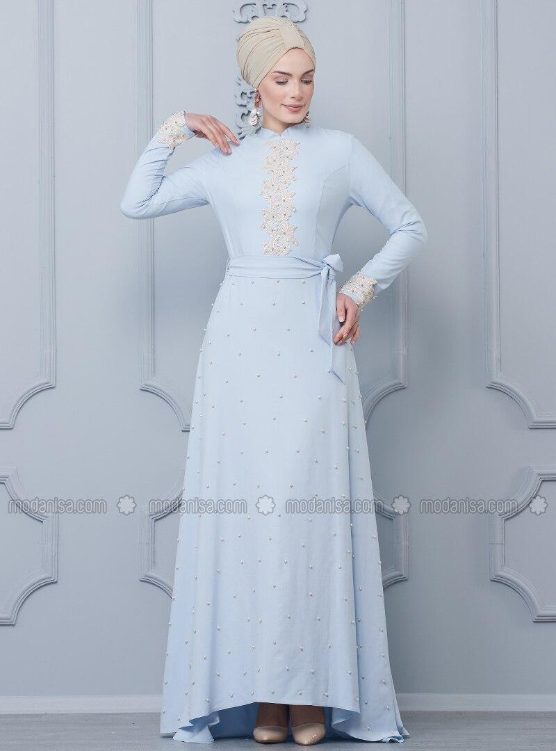 Baby Blue - Crew neck - Unlined - Dress